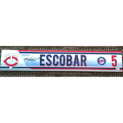 Photo of 2015 Game-Used and Autographed Eduardo Escobar Locker Tag