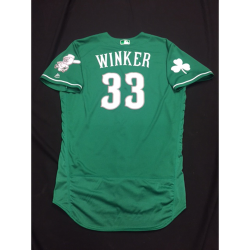 Photo of Jesse Winker -- Game-Used -- Irish Heritage Jersey -- Worn for Bronson Arroyo Farewell Game -- Red Sox vs. Reds -- 9/23/17
