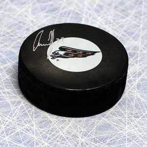 Olaf Kolzig Washington Capitals Autographed Eagle Logo Hockey Puck