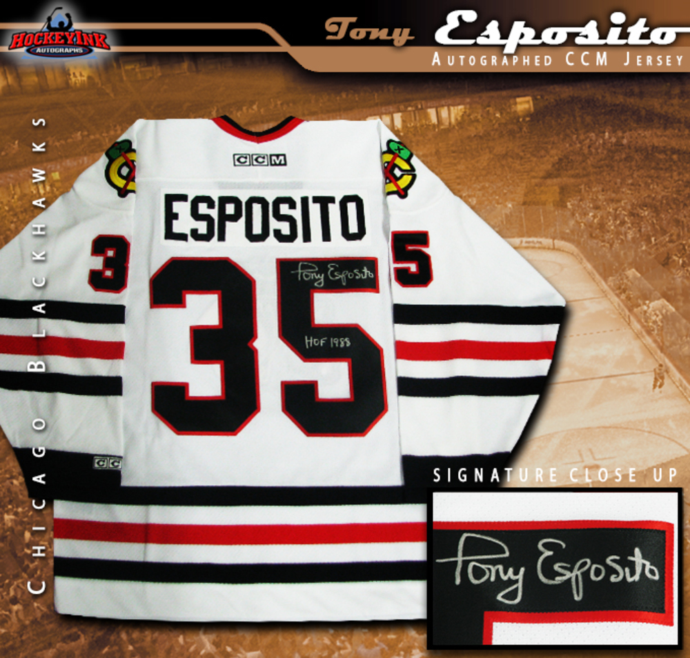 TONY ESPOSITO Signed White Chicago Blackhawks CCM Jersey