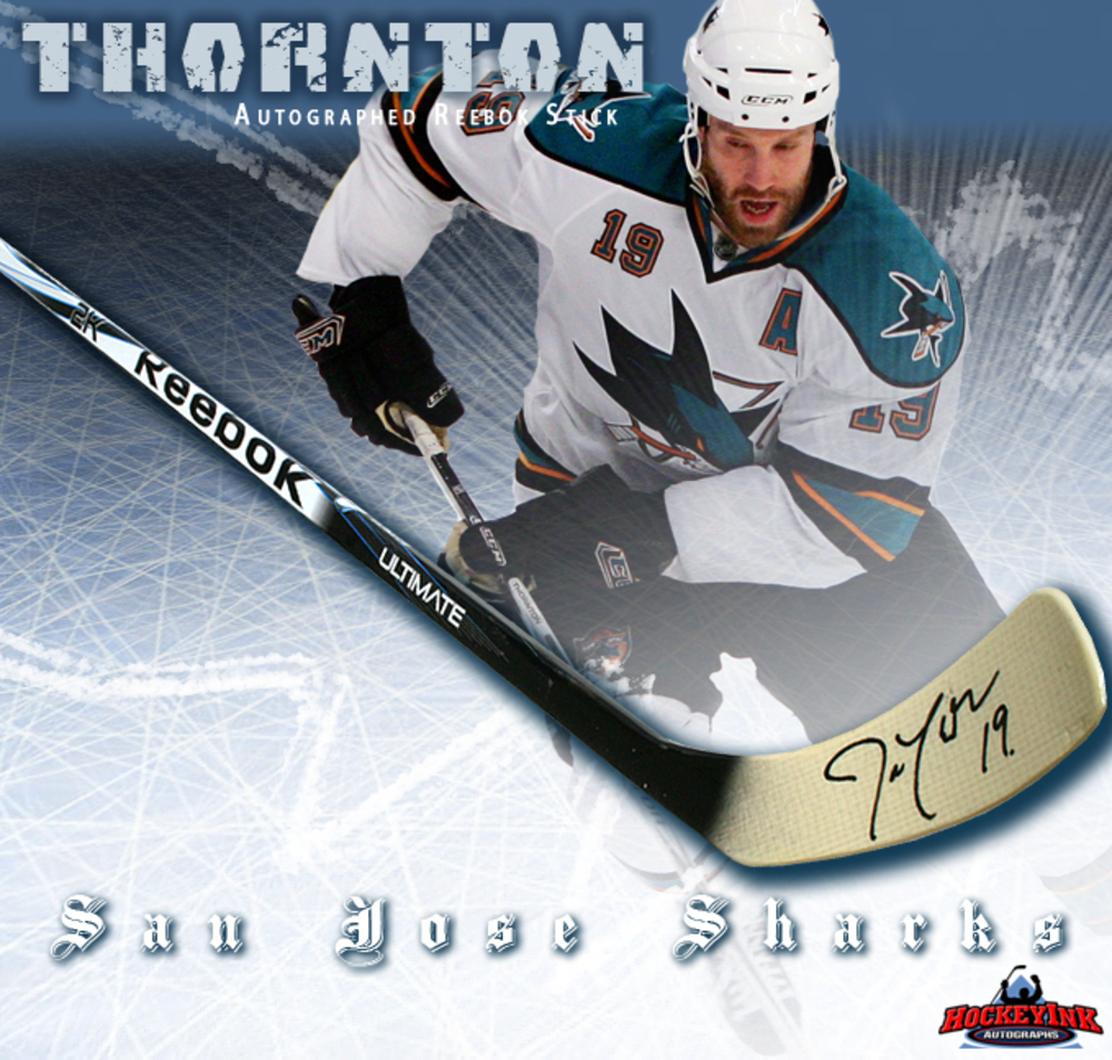 JOE THORNTON Signed Reebok Stick - San Jose Sharks