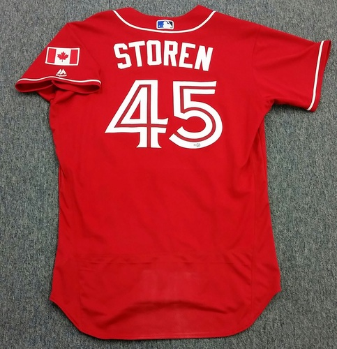 Photo of Authenticated Game Used 2016 Canada Day Jersey - Drew Storen.  Storen pitched 1.1IP giving up 2 hits, and 1 walk.