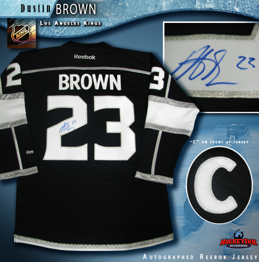 DUSTIN BROWN Signed Los Angeles Kings Black Reebok Jersey