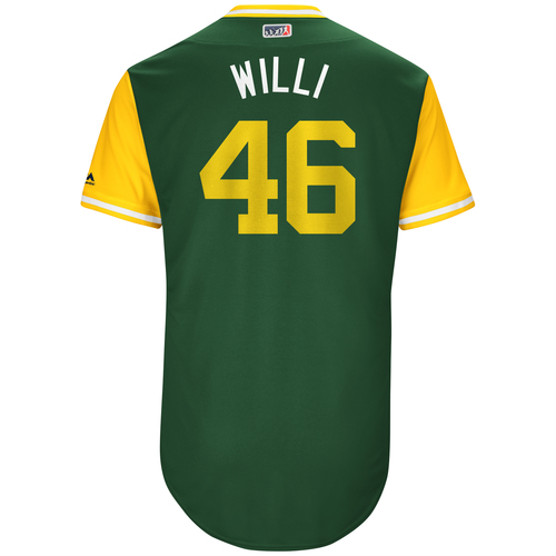"Photo of Santiago ""Willi"" Casilla Oakland Athletics Game-Used Players Weekend Jersey"