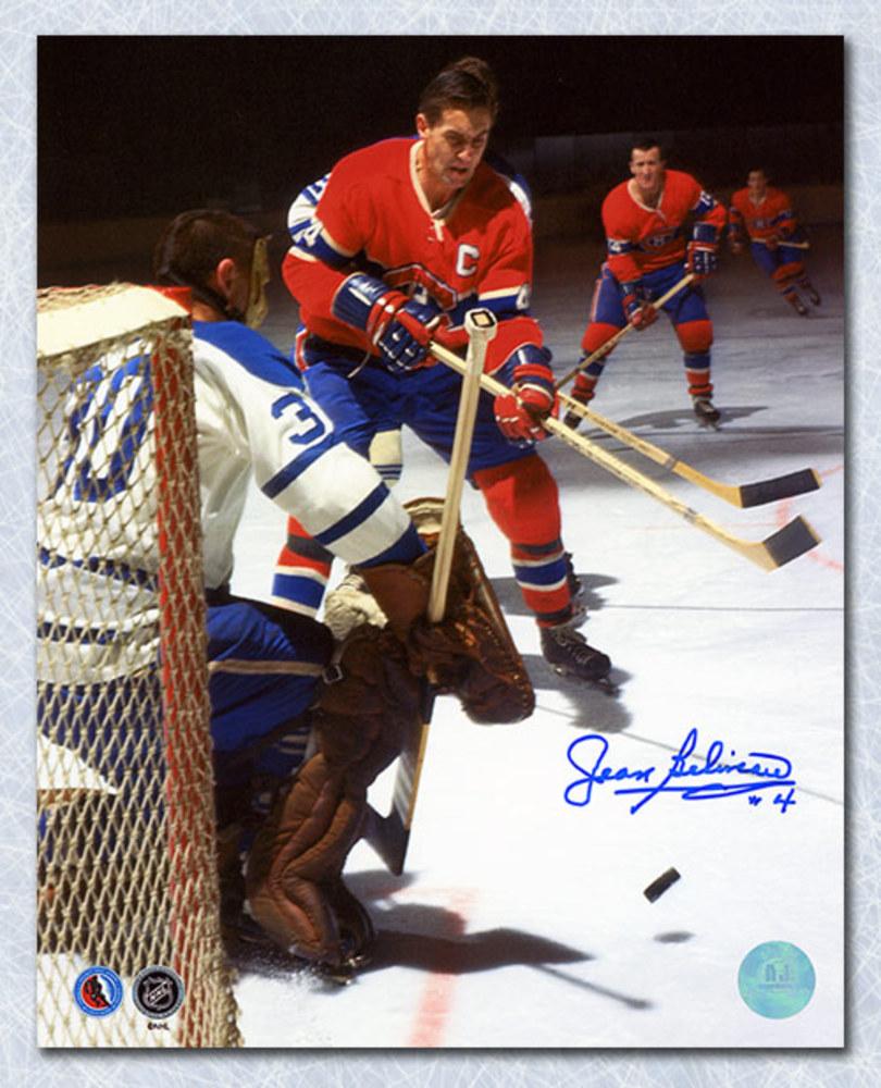 Jean Beliveau Montreal Canadiens Autographed Shooting vs Sawchuk 8x10 Photo