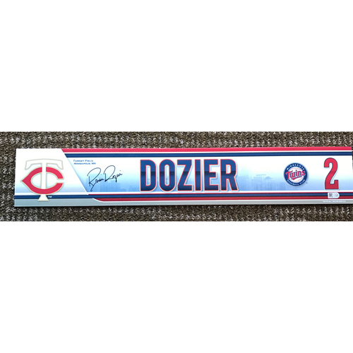 Photo of 2015 Game-Used and Autographed Brian Dozier Locker Tag