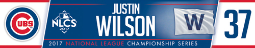 Photo of Justin Wilson Game-Used Locker Nameplate -- NLCS Game 4 -- Dodgers vs. Cubs -- 10/18/17