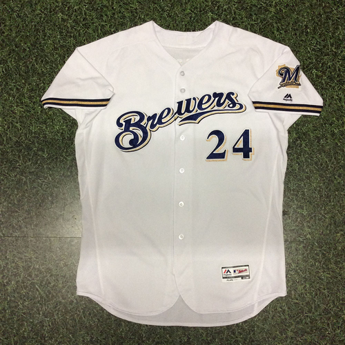 Photo of Jesus Aguilar 2017 Game-Used Opening Day Jersey