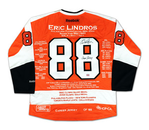 Eric Lindros Autographed Philadelphia Flyers Career Stats Jersey