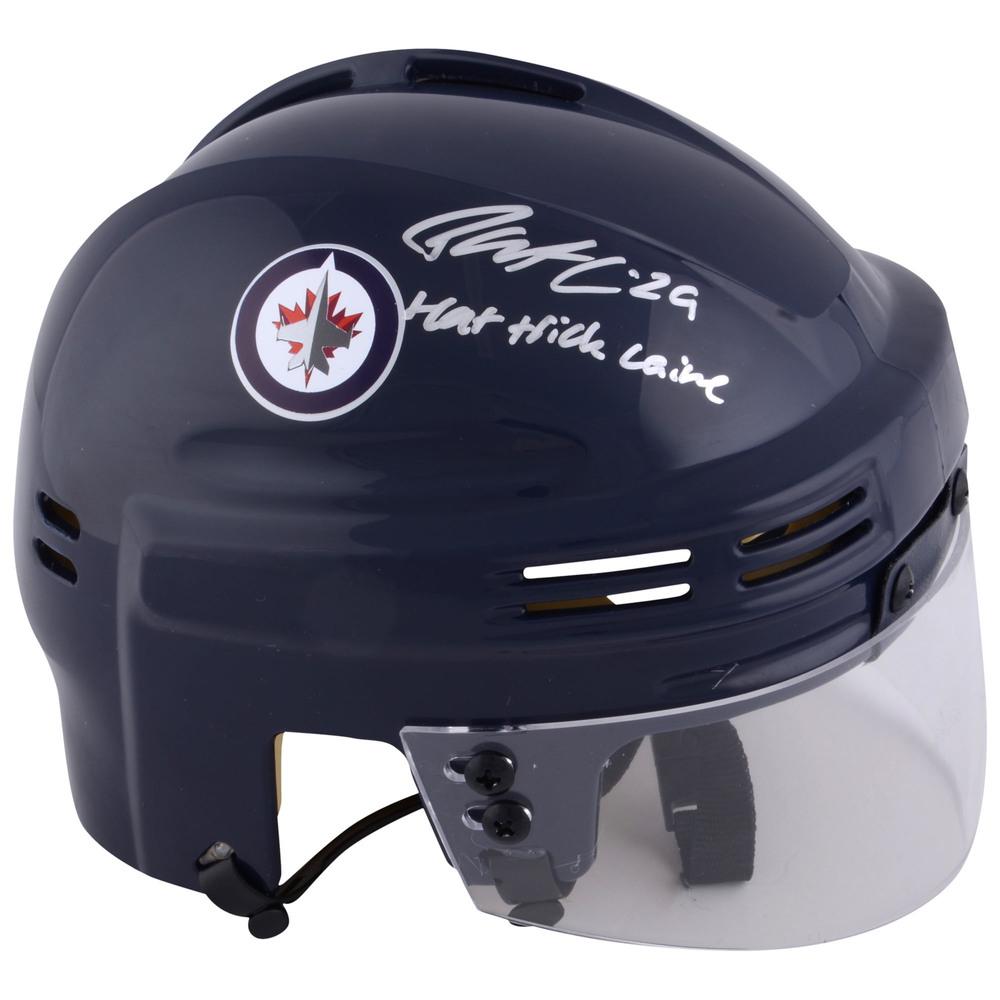 Patrik Laine Winnipeg Jets Autographed Navy Mini Helmet with Hat Trick Laine Inscription