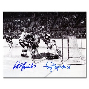 Phil Esposito Boston Bruins vs. Tony Esposito Chicago Blackhawks Dual Autographed 8x10
