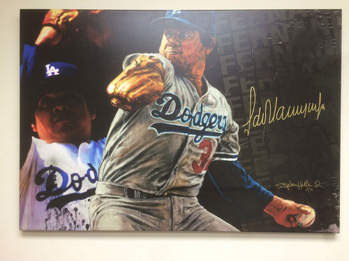 Photo of Autographed Fernando Valenzuela Canvas by Stephen Holland