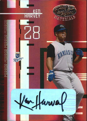 Photo of 2005 Leaf Certified Materials Mirror Autograph Red #86 Ken Harvey/250