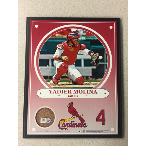 Photo of Cardinals Authentics: Yadier Molina Game-Used Dirt Player Plaque