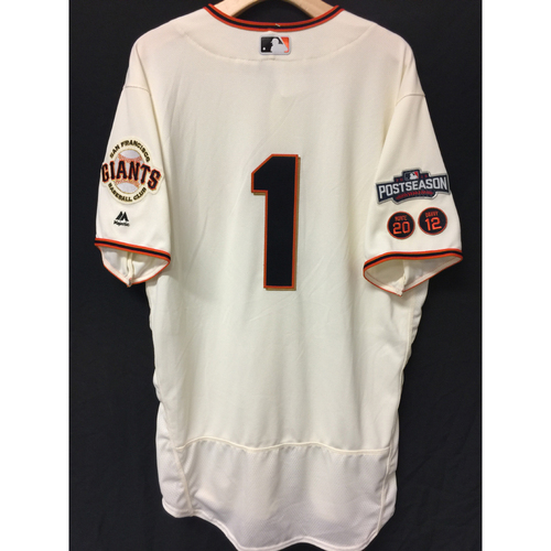 Photo of San Francisco Giants Ehire Adrianza 2016 Team-Issued Postseason Home jersey (size 46)