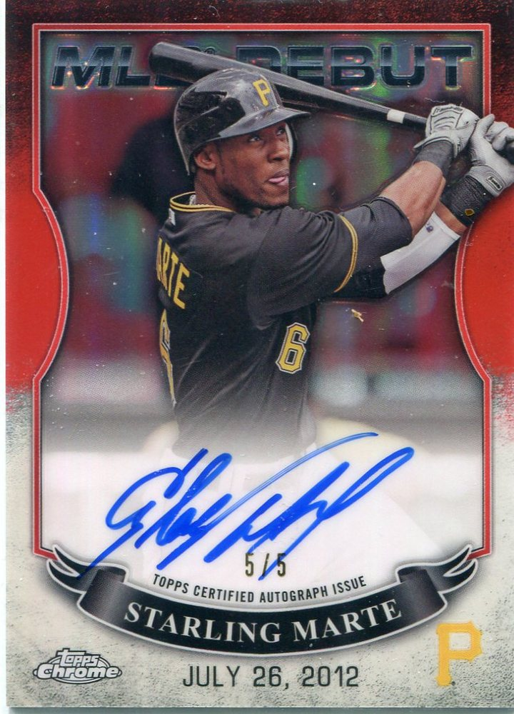 2016 Topps Chrome MLB Debut Autographs Red Refractors Starling Marte 5/5