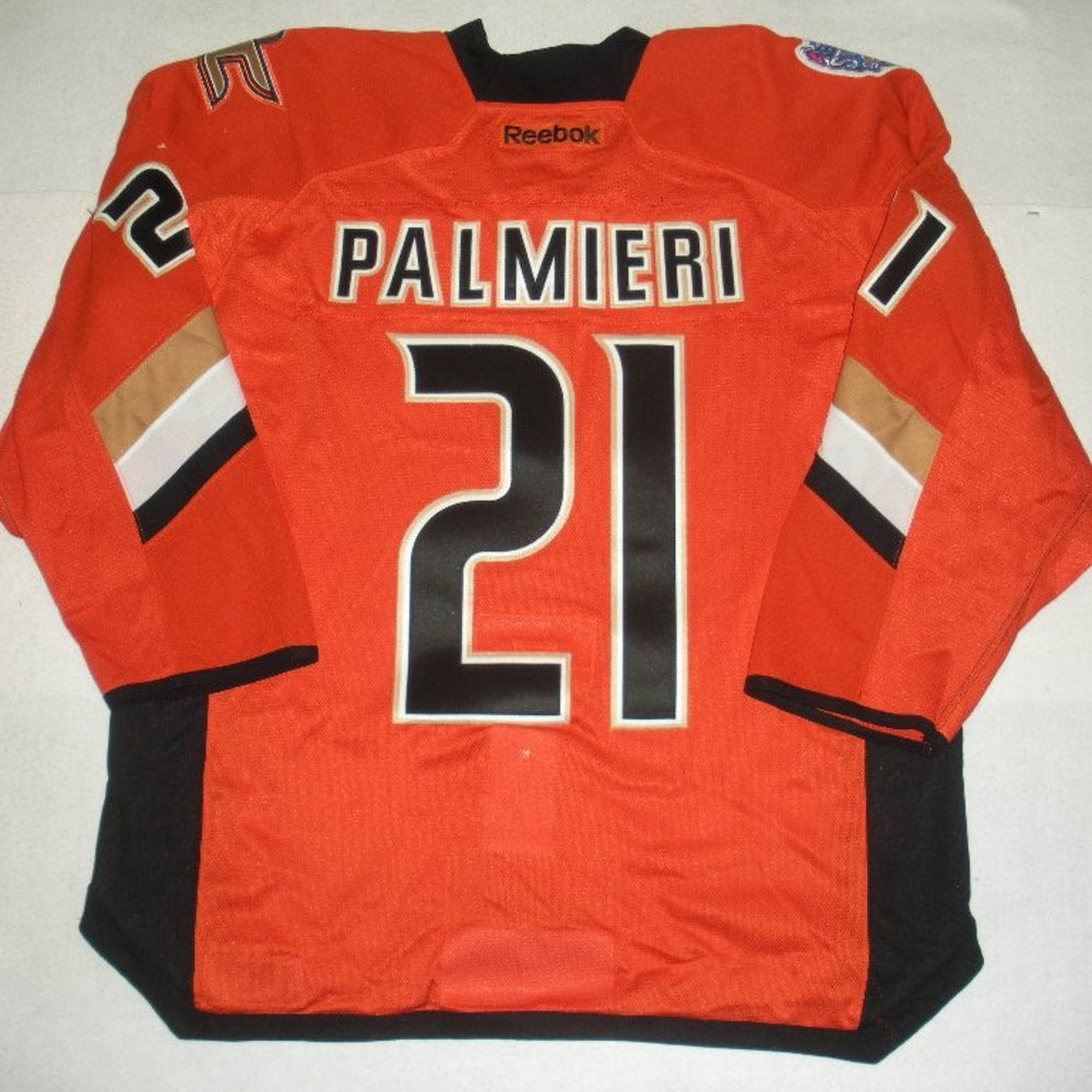 Kyle Palmieri - 2014 Stadium Series - Anaheim Ducks - Orange Game-Worn Jersey - Worn in First Period