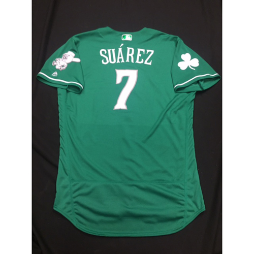 Photo of Eugenio Suarez -- Game-Used -- Irish Heritage Jersey -- Worn for Bronson Arroyo Farewell Game -- Red Sox vs. Reds -- 9/23/17
