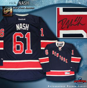 RICK NASH Signed New York Rangers Blue Alternate Reebok Jersey