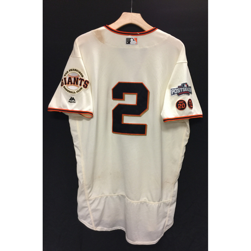 Photo of San Francisco Giants Denard Span 2016 Game-Used Postseason Home jersey (size 46, authenticated NLDS Game #3 and NLDS Game #4 vs Cubs)