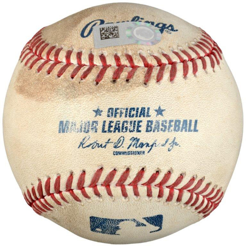 Photo of Robinson Chirinos Texas Rangers Game-Used Double Baseball vs. Oakland Athletics on September 18, 2016