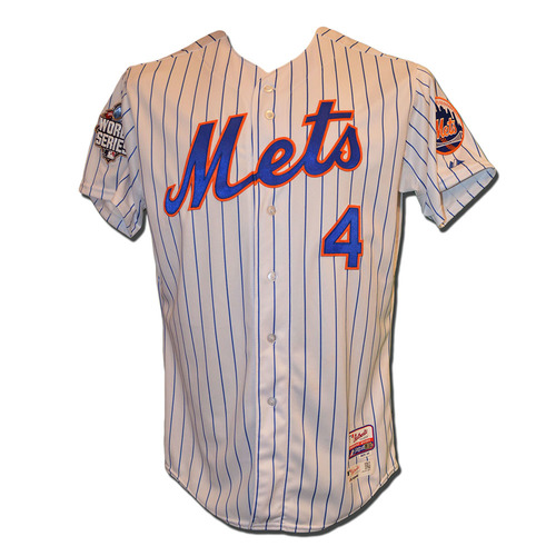 Wilmer Flores #4 - 2015 World Series Game 3 - Game Used White Pinstripe Jersey - 1 Run Scored - Mets vs. Royals - 10/30/15