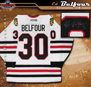 ED BELFOUR Signed Chicago Blackhawks White CCM Jersey
