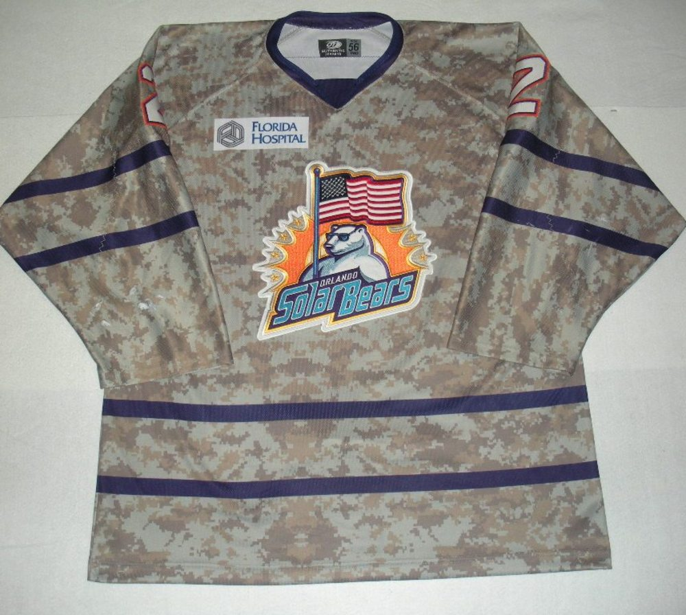 Orlando Solar Bears - Colton Jobke - Military Appreciation Night Camo Game-Worn Jersey