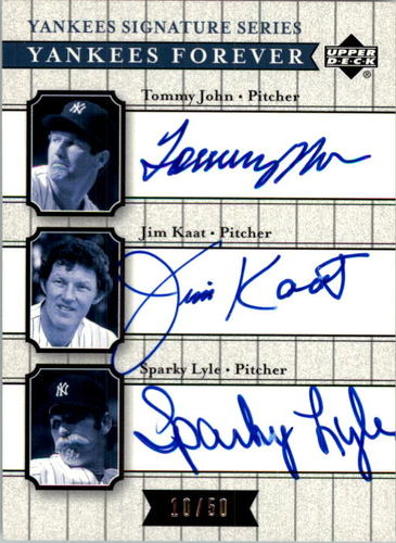Photo of 2003 Upper Deck Yankees Signature Yankees Forever Autographs #JKL Tommy John/Jim Kaat/Sparky Lyle
