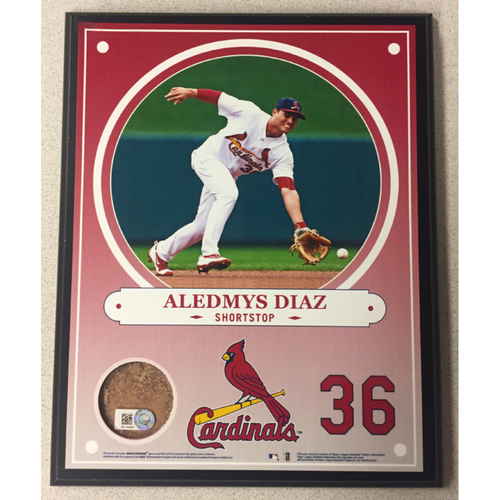 Photo of Cardinals Authentics: Aledmys Diaz Game-Used Dirt Player Plaque