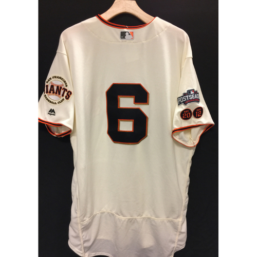 Photo of San Francisco Giants Jarret Parker 2016 Team-Issued Postseason Home jersey (size 48)