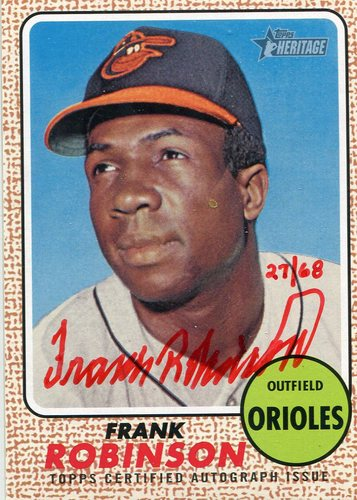 Photo of 2017 Topps Heritage Real One Autographs Red Ink #ROAFRO Frank Robinson/68