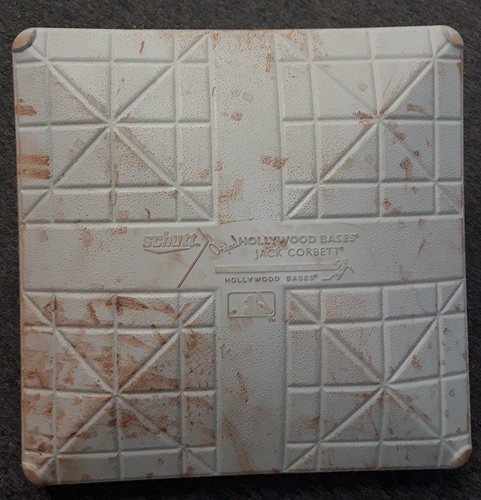 Photo of Authenticated Game Used Base - 3rd Base for Innings 10/11 of 2016 AL Wild Card Game (Oct. 4, 2016 vs BAL). Encarnacion Walkoff HR