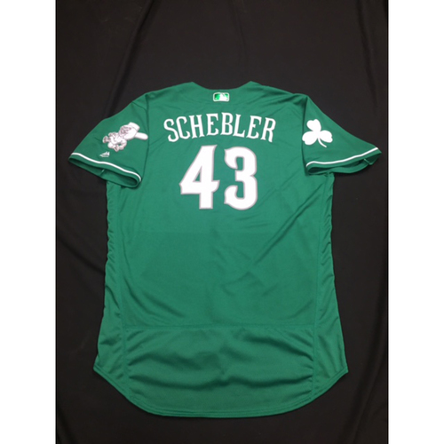 Photo of Scott Schebler -- Game-Used -- Irish Heritage Jersey -- Worn for Bronson Arroyo Farewell Game -- Red Sox vs. Reds -- 9/23/17