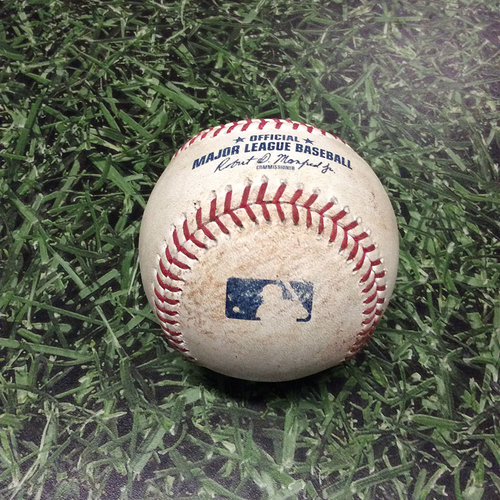 Photo of Game-Used Baseball 09/26/17 CIN@MIL - Deck McGuire to Stephen Vogt: Double