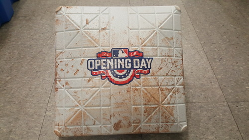 Photo of Authenticated Game Used 3rd Base April 8th 2016 Opening Day - innings 4-5