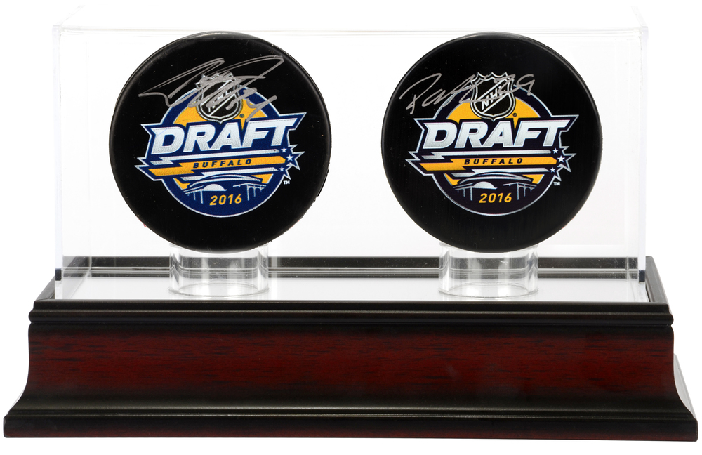 Patrik Laine & Auston Matthews Autographed Draft Logo Pucks with Mahagony Two Puck Display Case