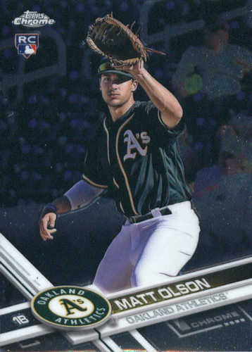 Photo of 2017 Topps Chrome #98 Matt Olson -- Rookie Card of Oakland's rookie sensation