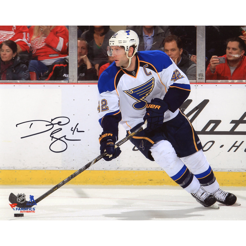 David Backes St. Louis Blues Autographed White With Puck 8