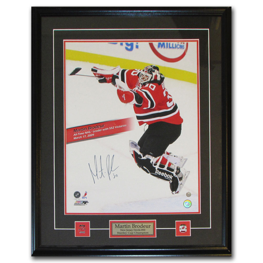 Martin Brodeur Autographed New Jersey Devils Framed 16X20 Photo