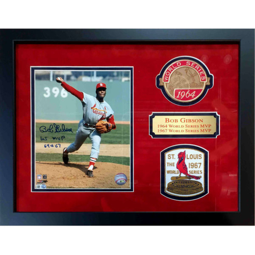 Photo of Cardinals Authentics: St. Louis Cardinals Bob Gibson 1964 & 1967 MVP Autographed and Inscribed Framed photo with World Series Patches
