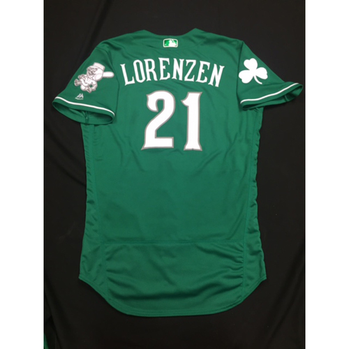 Photo of Michael Lorenzen -- Game-Used -- Irish Heritage Jersey -- Worn for Bronson Arroyo Farewell Game -- Red Sox vs. Reds -- 9/23/17