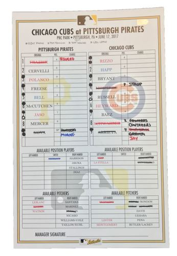 Photo of Game-Used Lineup Card from Pirates vs. Cubs on 6/17/17 - HRs by McCutchen, Polanco, Arrieta, and Russell