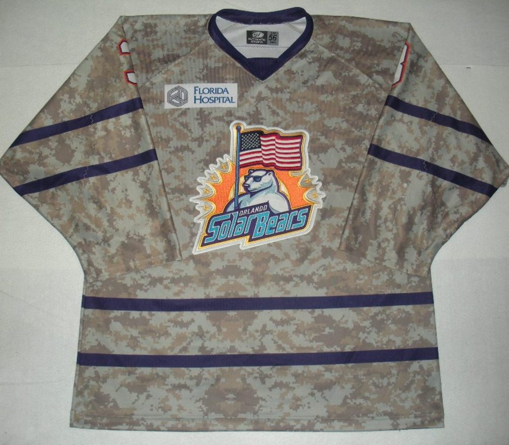 Orlando Solar Bears - Corey Fienhage - Military Appreciation Night Camo Game-Worn Jersey