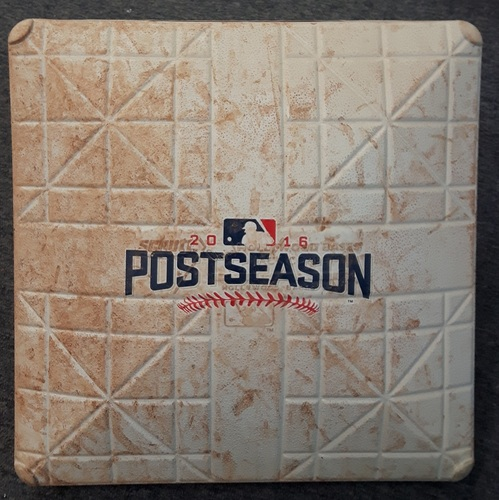 Photo of Authenticated Game Used Base - ALDS Game 3 vs TEX. 1st Base for Innings 4-6. Oct. 9, 2016