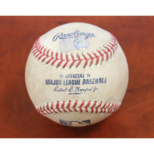 Photo of Game-Used Baseball: Indians Win 22nd Consecutive Game (Josh Tomlin pitches to Whit Merrifield, Lorenzo Cain, and Melky Cabrera)