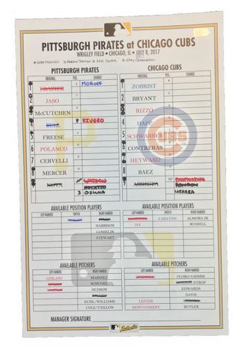 Photo of Game-Used Lineup Card from Pirates vs. Cubs on 7/8/17 - Back-to-Back HRs by Happ and Schwarber