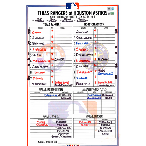 Photo of Texas Rangers Game-Used Lineup Card vs. Houston Astros on May 14, 2014
