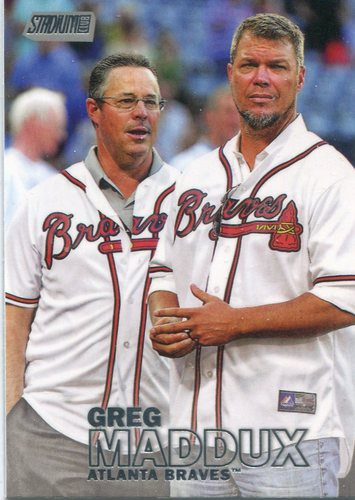 Photo of 2016 Stadium Club #122B Greg Maddux short print with Chipper Jones