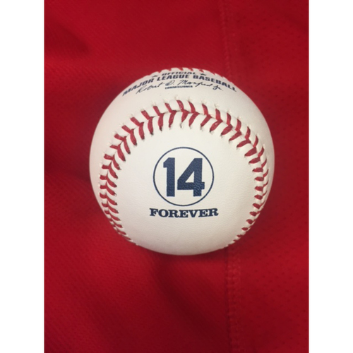 """Photo of """"14 Forever"""" Pearl -- Un-Used Baseball from Pete Rose Statue Dedication -- Dodgers vs. Reds on June 17, 2017"""